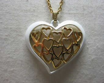 Hearts Gold White Necklace Pendant