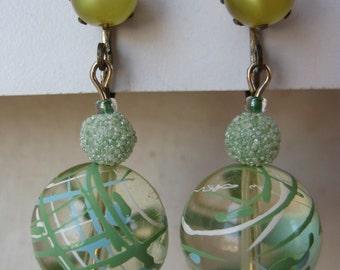 Greens Dangle Earrings Clip Gold Plastic Clear