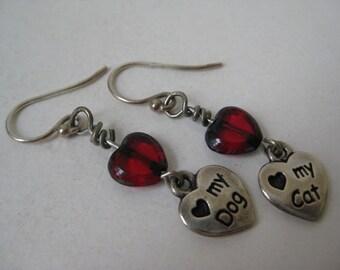 Sterling Silver Cat Dog Earrings Pierced Red Heart Wire Dangle