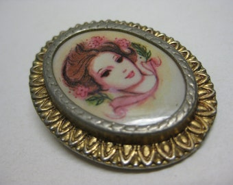 Woman Brooch Pink Oval Vintage Pin
