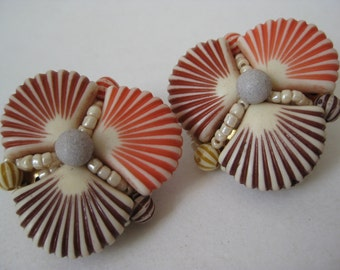 Shell Earrings Clip Red Orange Plastic Vintage
