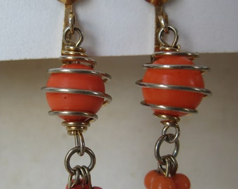 Orange Gold Dangle Earrings Clip Vintage