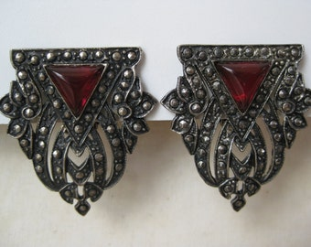 Silver Red Earrings Clip Filigree Vintage Chunky Weinberg