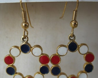 Red White Blue Circle Earrings Gold Dangle Vintage