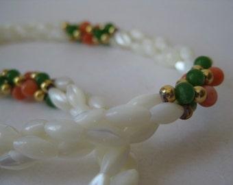 Pearl Orange Green White Necklace Vintage