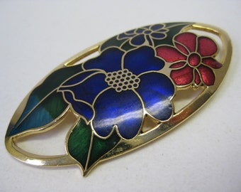 Flower Brooch Blue Red Gold Enamel Vintage Pin