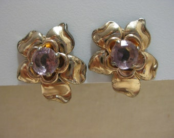 Pretty Pink and Gold - earrings