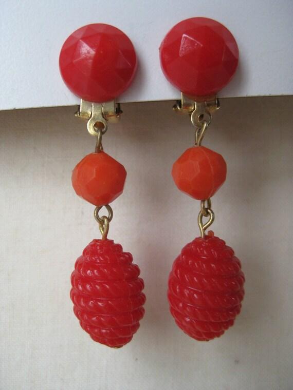Orange and Red Cool Dangle - earrings
