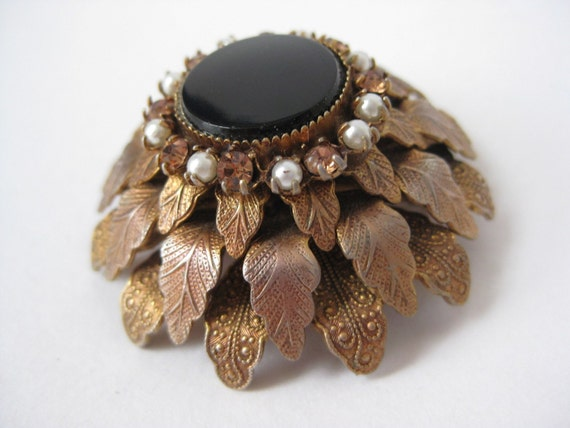 RESERVED for ryturrisith - Super Cool Layered Floral - vintage brooch