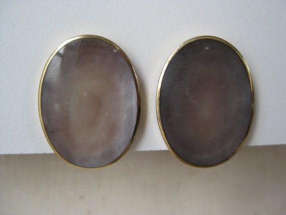 Oval Abalone - vintage earrings