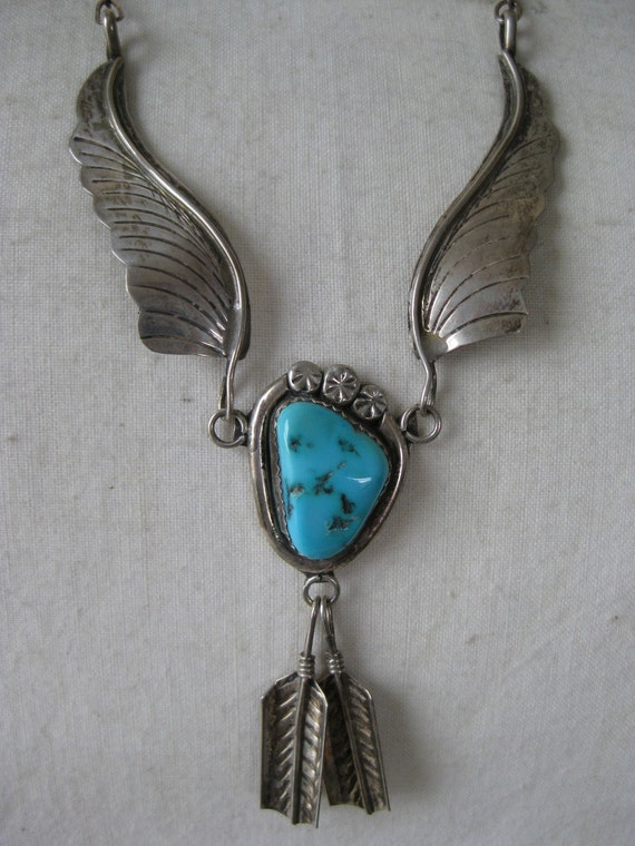 Silver Turquoise Wing Dangle - vintage necklace