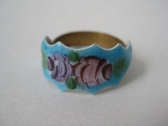 Roses Pink Blue Ring Enamel Adjustable Vintage