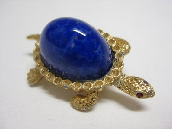 Shabby Gold and Blue Turtle - vintage brooch