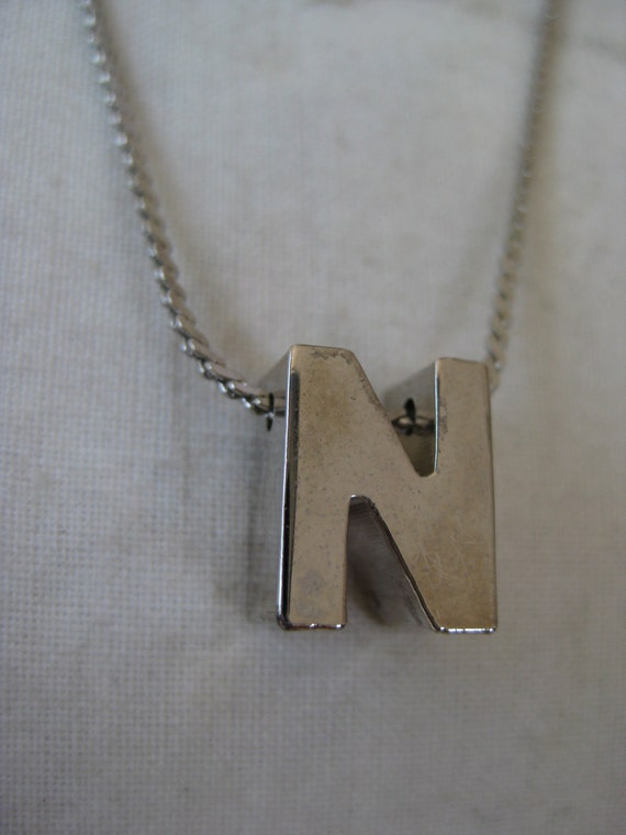 Capital Silver N - vintage necklace