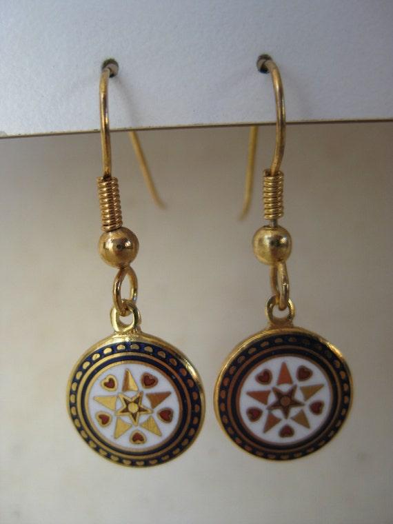 Star Hex Earrings Pierced Gold Enamel Red White Blue Dangle Wire