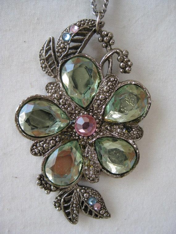 Chunky Flower Necklace Green Pink Rhinestone Silver Pendant