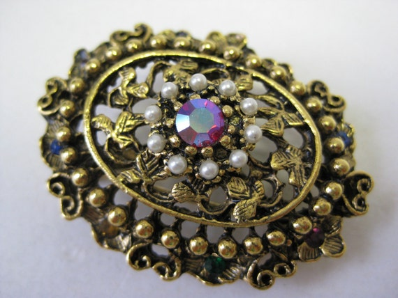 Flower Filigree Brooch Gold Rhinestone Pearl Colorful Vintage Pin