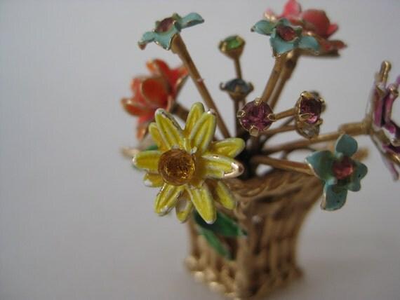 RESERVED for ryturrismith - Flower Basket Brooch Colorful Rhinestone Enamel Gold Vintage Pin