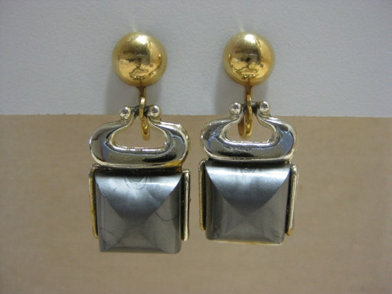 Gold Silver and Gray - earrings