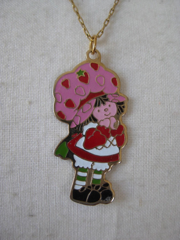 strawberry shortcake vintage necklace