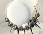 "Gunmetal Rhinestone Basketball Wives Earrings 3"" Silver Hoops with Spikes (E42312-S3)"
