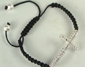 Sideways Rhinestone Cross Bracelet Silver with Crystal Black Braided Cord