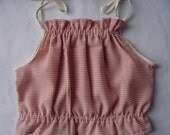 Kids - Coral Gingham Halter Top - Size 3T