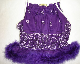 Kids - Purple Bandana and Feather Boa Shoulder Tie Top - Size 3T