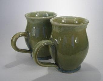 Moss-Green Mugs, set of 2