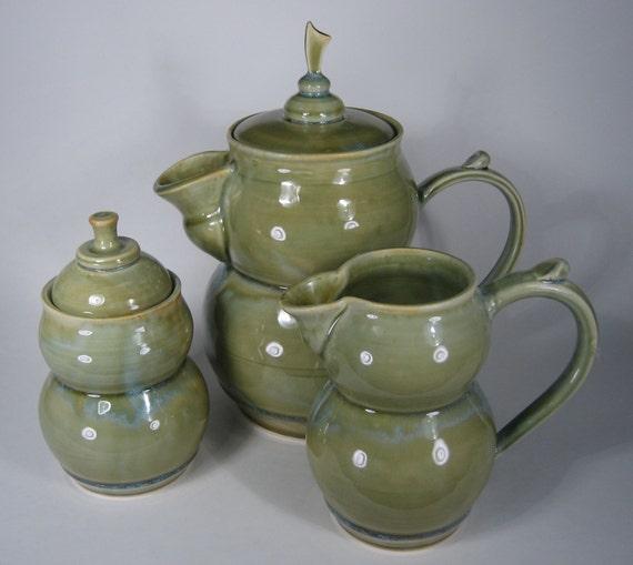 Moss-Green Coffee Set (3 piece)