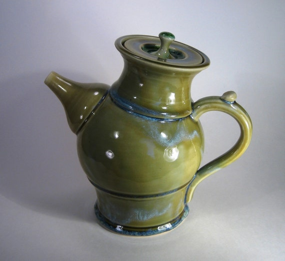 Tilted Glassy Green Teapot