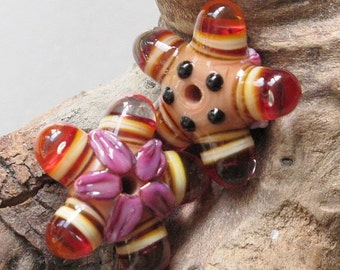 Orange and Purple 5 Bubble-Eyed Alien Pod Matched Pair Lampwork Glass Beads