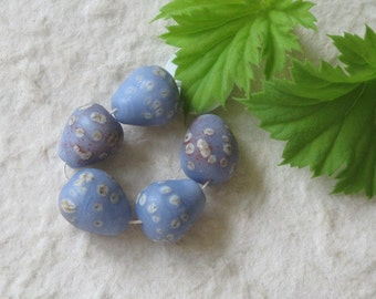 5 Slate Blue Birds Egg Beads Handmade Lampwork Glass