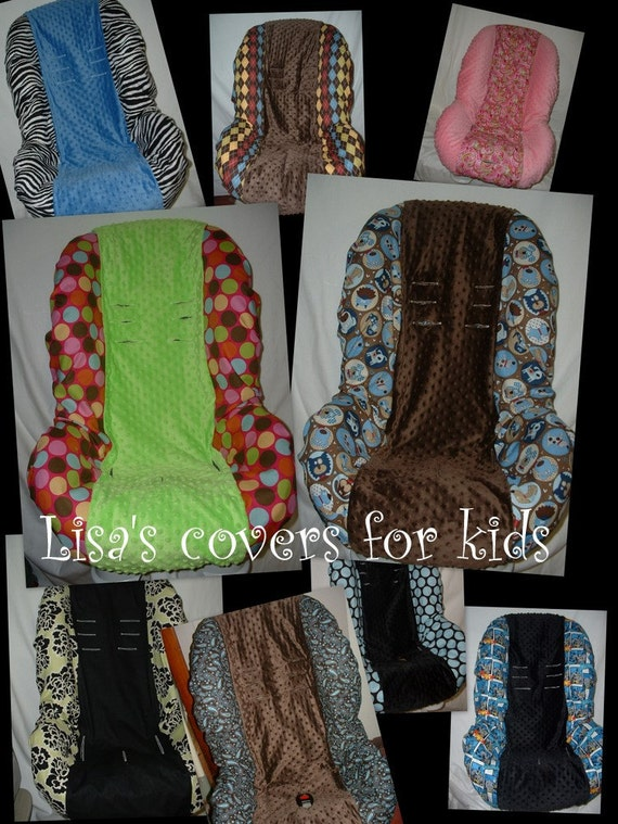Car seat COVER toddler - Fits most brands of Seats - Reversable. MiNkY...Many FABRIC CHOICES - Washable...Lisas covers for kids