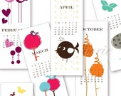 Mod Birds and Florals - PDF Printable 2010 Calendar