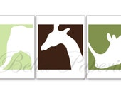 3 Animal Prints - Safari Animal Silhouettes - Elephant, Giraffe and Rhino