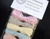 Bakers Twine 360 feet - ALL 6 NEW COLORS - Paris Pink, Banana Yellow, Kraft Brown, Green, Turquoise Blue (Bleu de France)