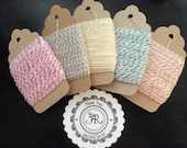 Bakers Twine 1 Dollar Baby Sale - 25 Yards CHOOSE from NEW COLORS on Chipboard Hanging Tag, Paris Pink, Kraft Brown, Yellow, Turquoise