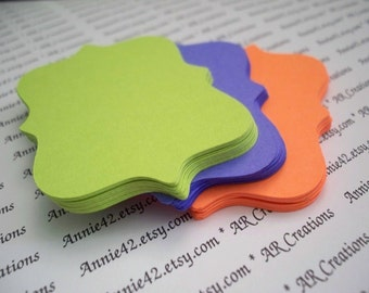 Halloween, Top Note Minis - Backet Notes in Orange, Lime Green, Purple for Scrapbook, Party Favors, Garlands, Toppers, Journaling