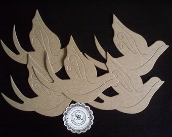 Bird, Chipboard Birds - Doves Die Cuts Shape, no. 13, Chipboard Ornament, Decorative Die Cuts, Home Decor Set of 4 by Annie42 - AR Creations