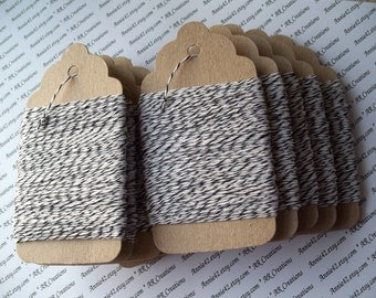 Black Trim, Bakers Twine 25 Yards in Black and White on a Chipboard Hanging Tag for Scrapbooking, Card Making, Party Favors, Garlands