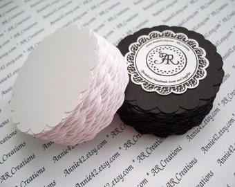 Scallop Circles Die Cuts Cardstock Paper Punches Set of 24 the Tuxedo Pack BLACK and WHITE by Annie42 - AR Creations on Etsy