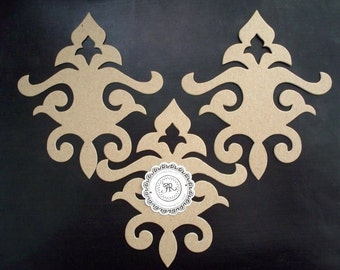 92 - Chipboard Fleur de Lis, Chipboard Flourishes/Scrolls Romantic Fleur de Lis, Chipboard Die Cuts on .38 Store Quality Chipboard Set 3