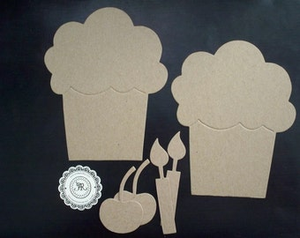 Cupcake w Accesories XL no. 98 Chipboard Die Cuts (38pts Craft Store Quality) Set 6 pieces, Mini Album, Cards, Favors, Birthday, Banner