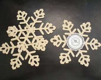 Winter, no76 - Chipboard Snowflakes, Pine Cone Tip, Heavy 38pts (Craft Store Quality) Set 3 Built 3D for Weddings, Garland, Scrapbooki