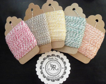 Bakers Twine, 25 Yards CHOOSE from on Chipboard Hanging Tag, Paris Pink, Yellow, Turquoise by Annie42 on Etsy
