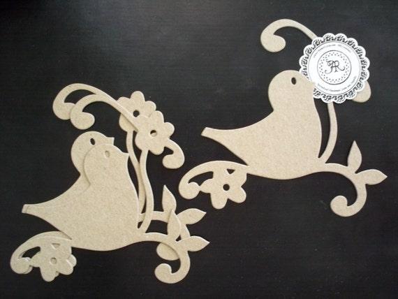 Chipboard Die Cuts, Chipboard Bird w-Flowers and Swirly Vine no. 64 Set of 3 by Annie42 on Etsy