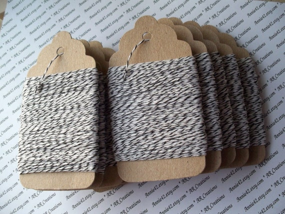 Bakers Twine 25 Yards in BLACK and WHITE on a Chipboard Hanging Tag by Annie42 - AR Creations on Etsy