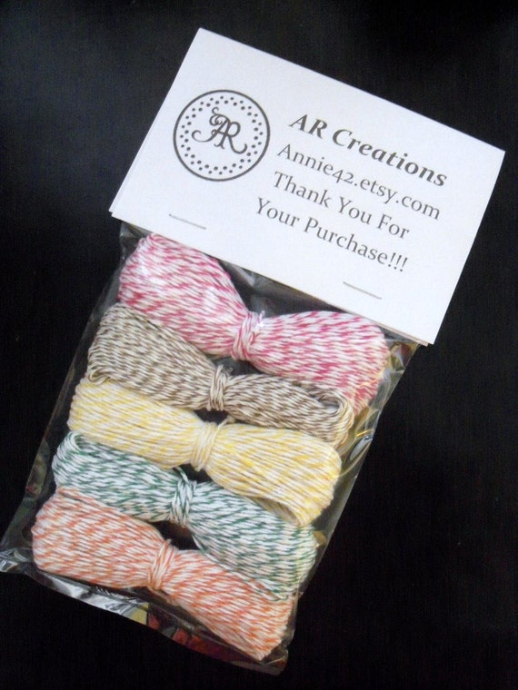Bakers Twine 120 yards - Baby Sale - ALL 6 NEW COLORS - Paris Pink, Banana Yellow, Kraft Brown, Green, Turquoise Blue