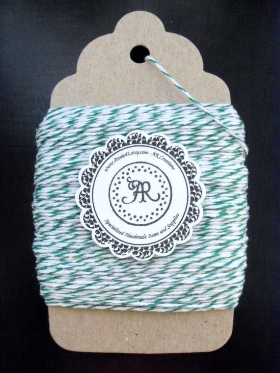 Green Bakers Twine BABY SaLe 25 Yards New FOREST GREEN on a Big Chipboard Tag Die Cut